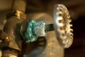 Patina - uniform corrosion on copper pipe